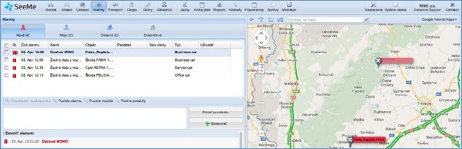 GPS monitoring, přehled online dat