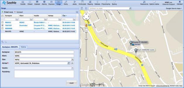 GPS navigace přes GARMIN systém, sledování zásilky od jejího převzetí do jejího předání