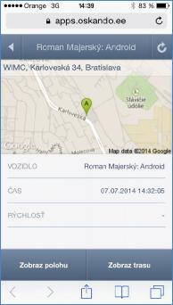 GPS monitoring SeeMe Mobile zobrazení ve Smartphone