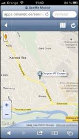 satelitní monitoring ve smartphone SeeMee Vozidla